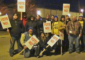 Members of Local 89 in Louisville, Ky., show where they stand on the UPS contract