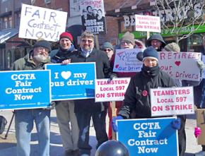 Supporters join Burlington bus drivers on their picket lines