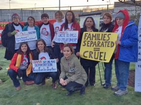 Protesters show their solidarity with hunger strikers inside Northwest Detention Center