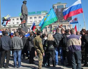 A pro-Russian demonstration in the eastern city of Donetsk