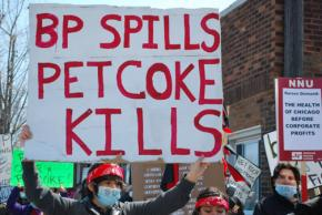 Chicagoans march against a recent BP oil spill and piles of deadly petcoke stored on the South Side