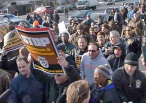 Teamsters of Local 804 protesting outside UPS