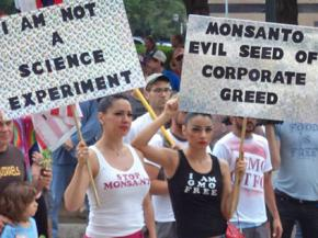 Activists on the march against Monsanto in Austin, Texas