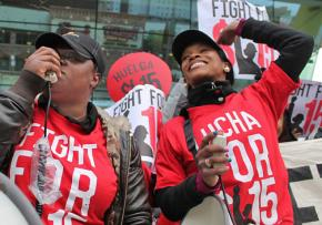 Low-wage workers and their supporters picket a Chicago McDonald's