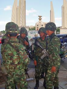 Thai troops on the streets in Bangkok