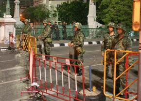 Thai soldiers guard their barricades in Bangkok