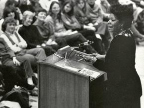 Maya Angelou lectures at Boston College in 1984