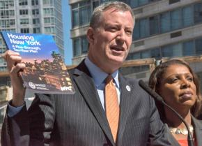 Bill de Blasio announces his affordable housing program at a press conference