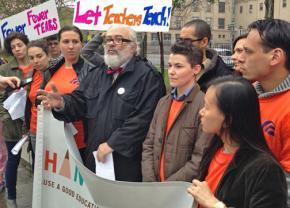 Teachers at International High School at Prospect Heights announce their test boycott