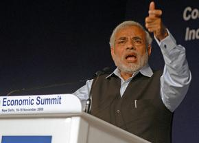 Narendra Modi speaks at a World Economic Forum meeting in New Dehli
