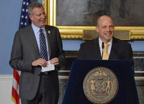 UFT President Michael Mulgrew (right) with Mayor Bill de Blasio