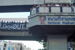 Protesters in Bangkok oppose the coup