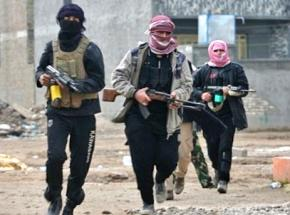 ISIS fighters on the streets in Mosul