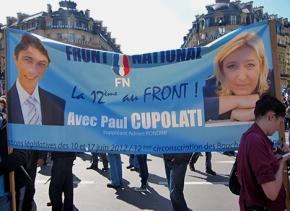A National Front banner from the 2012 election featuring Marine Le Pen