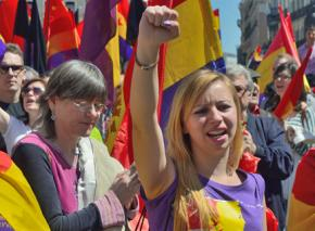 Protesters against the monarchy gathered in Madrid