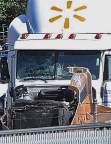 The Walmart truck after the New Jersey Turnpike crash