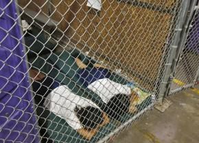 Children locked in cages in an immigration detention center in Texas