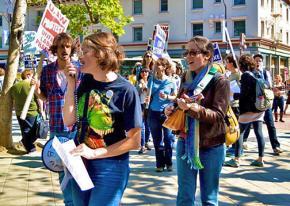 University of California graduate employees on the picket lines in Berkeley
