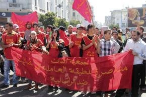 A union demonstration in Casablanca where February 20th Movement activists were targeted by authorities
