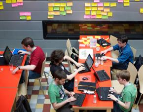 Software developers at work at the Wikimedia Hackathon