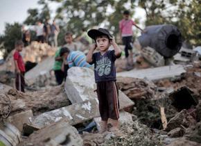 Wreckage in Gaza left behind by Israeli airstrikes