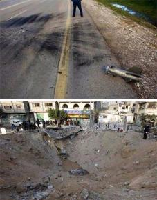 Above: Aftermath of a Gaza rocket attack on Israel that left none dead, none injured and no infrastructure damage; below: Aftermath of an Israeli missile attack on Gaza that left 42 dead, 69 injured and a residential area obliterated