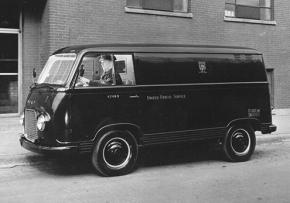Teamster driver at the wheel of a UPS van in 1970