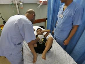 A child wounded in Israel's assault on Gaza