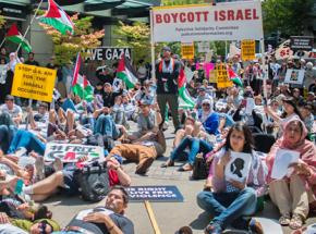 Solidarity activists hold a sit-in for justice in Palestine