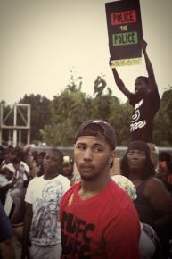 Protesting along West Florissant in Ferguson, Mo.