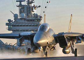 A U.S. warplane on the deck of on an aircraft carrier in the Persian Gulf
