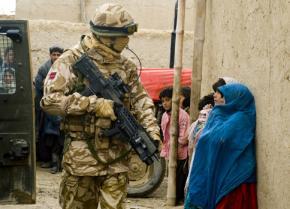 A British soldier on patrol in Lashkar Gah, Afghanistan