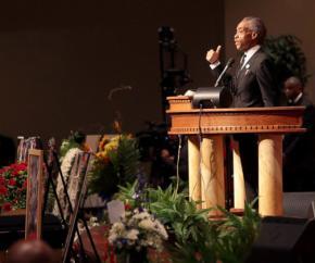 Al Sharpton at Mike Brown's funeral in Ferguson, Mo.