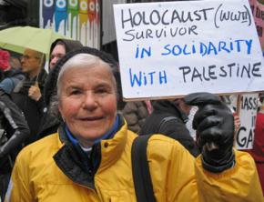 A Holocaust survivor shows her support for Palestinian rights
