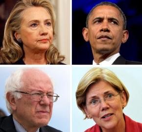 Clockwise from top left: Hillary Clinton, Barack Obama, Elizabeth Warren and Bernie Sanders
