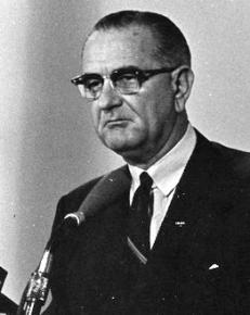 Lyndon Johnson making his midnight speech about the Gulf of Tonkin incident