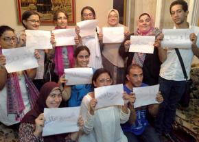 Mahienour el-Masry (fourth from left in the back row) has been released from prison and resumed organizing