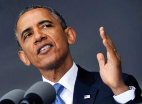 President Obama speaking at a press conference
