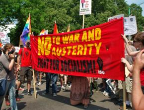 Members of the International Socialist Organization marching against NATO