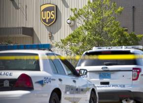 Police outside the UPS facility in Inglenook, Ala.