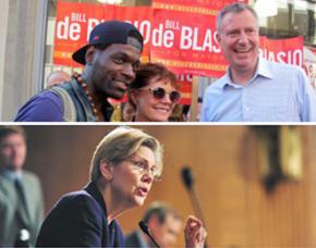 New York City Mayor Bill de Blasio (above right) and Massachusetts Sen. Elizabeth Warren (below)