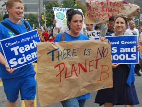 Demonstrators in the People's Climate March remind policymakers that there is no Planet B