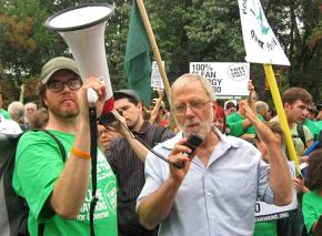 Green Party candidate for governor of New York Howie Hawkins speaks at a protest