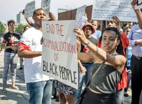 Demonstrating against police brutality and racism in Chicago