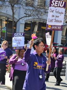 San Francisco court workers and members of SEIU Local 1021