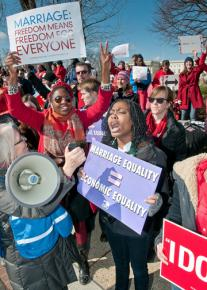 Marriage equality supporters rally outside the US supreme court building