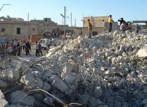 A building destroyed by U.S. air strikes in Idlib, a city in northwest Syria, far from ISIS's base