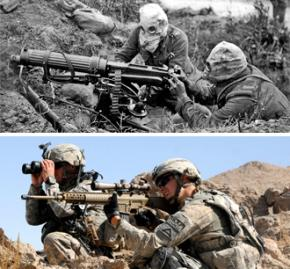 Soldiers in the First World War (above) and the U.S. war on Afghanistan (below)