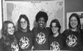 Women leaders of the UPSurge movement, including Anne Mackie (second from left)