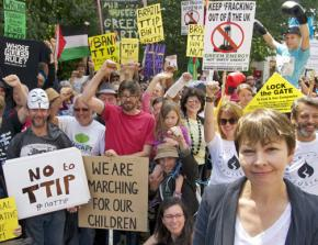 Caroline Lucas of the Greens at a protest against TTIP trade deal